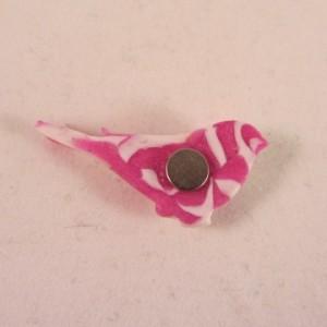 Magneet roze wit vogeltje