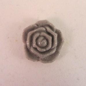 Magneet grijs-zilveren roosje