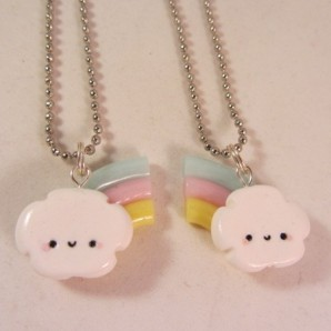 BFF rainbow cloud pastel zilver