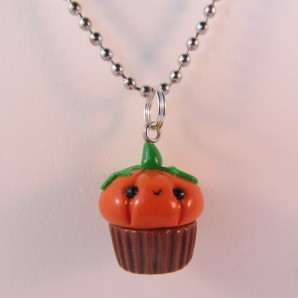 Pompoen cupcake ketting brown