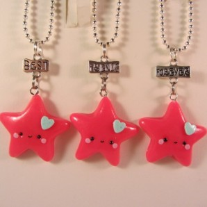 BFF triple star neon pink