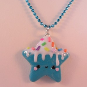 Ketting star blue/ witte icing