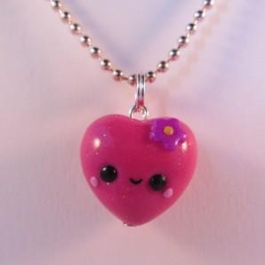 Roze hart ketting bloem