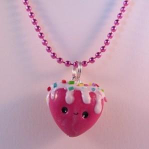 Roze hart ketting