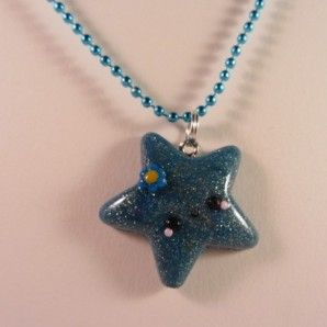 Blue glitter star ketting