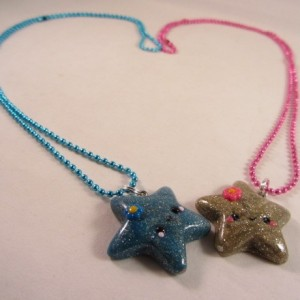 Golden en blue star ketting